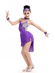 Dança Latina Vestidos Crianças Actuação Elastano Poliéster 5 Peças Sem Mangas Alto Vestido Neckwear Braceletes Tiaras