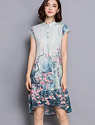Women's Vintage Print Plus Size / Loose Dress,Stand Asymmetrical Silk
