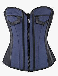 YUIYE® Women Sexy Lingerie Waist Training Bustier Tops Shapewear Waist Cincher Blue Jean Diamond Zip Corset