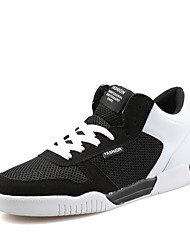 Customizable Men's Dance Shoes Fabric Fabric Dance Sneakers Flats Flat Heel Practice / Performance Black / Gray