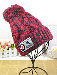 Women Casual Knitting Wool Warm Labeling Blending Thick Line Twist Patch English Alphabet Labeling Hat