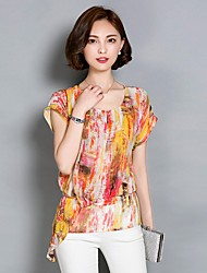Women's Print Green / Orange Blouse,Round Neck Short Sleeve