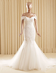 Trumpet / Mermaid Wedding Dress Court Train Off-the-shoulder Lace / Tulle with Appliques / Lace
