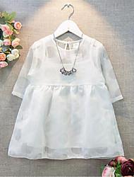 Menina de Vestido Verão / Primavera Rayon Preto / Branco