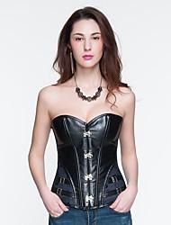 YUIYE® Women Sexy Lingerie Waist Training Corset Bustier Tops Shapewear Waist Cincher Black PU Overbust Corset Plus Size