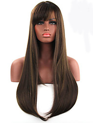 Natural Long Straight Brown Color Popular Synthetic Wig For Woman