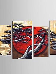pintados à mão abstrata árvore lua cenário balanço restaurante pintura a óleo decoração com moldura esticada