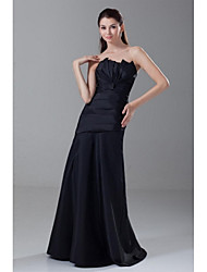 A-Line Strapless Floor Length Taffeta Formal Evening Dress with Pleats