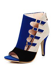 Damen High Heels Club-Schuhe Frühling Sommer Herbst Vlies Kleid Party & Festivität Schnalle Stöckelabsatz Schwarz Rot Blau 10 - 12 cm