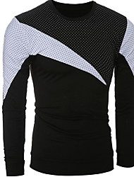 Hot Sale New Spring Summer High-Elastic Cotton T-Shirts Men's Long Sleeve O-Neck Patchwork Tight T Shirt