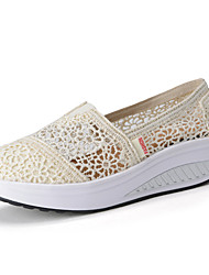 Women's Shoes Lace Spring / Summer / Fall Wedges / Platform / Comfort Slip-on Outdoor / Casual Wedge Heel Slip-on Black / Beige