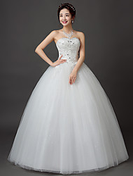 Ball Gown Sweetheart Floor Length Lace Satin Tulle Wedding Dress with Lace by JUEXIU Bridal