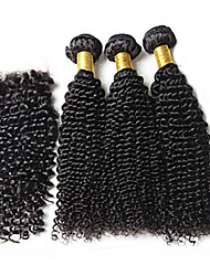 3Pcs Lot Brazilian Virgin Hair #1b Kinky Curly Hair With 1Pcs Lace Closure Human Hair Curly Deep Wave
