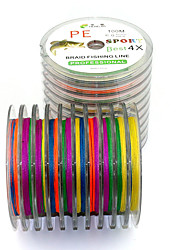100 M 4 Encoding Colorful Dyneema Fishing Lines Anti-bite Line Braided Lines Sub-4-Ply PE Line Lure Lines