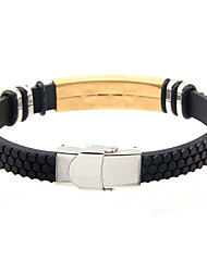 Cool Man  Leather Bracelets With Titanium Steel Charm Design Bangles for Men