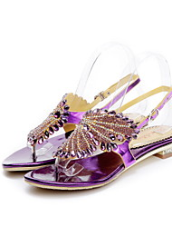 Women's Shoes Leather Low Heel Peep Toe / Gladiator / Comfort Sandals Party & Evening / Dress / Casual Black / Purple /
