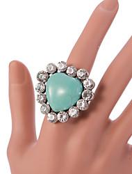 VIntage Style Silver Turquoise Statemenr Rhinestone Crystal Adjustable Ring
