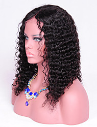 16inch Deep Curly Human Hair Wig Natural Black Color Curly Lace Front Wig For Black Woman 130Density