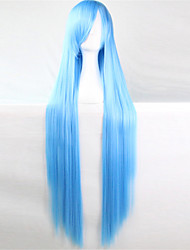Europe And The United States The New Color Wig 100 CM High Temperature Silk Blue Long Straight Hair Wigs