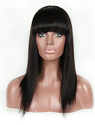 Unprocessed Peruvian Remy Human Hair With Bangs Silk Straight Lace Wigs Lace Front Hair Wigs