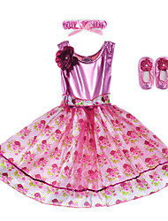 Performance Dresses Children's Performance Spandex / Polyester Flower(s) / Sash/Ribbon / Leopard 2 Pieces Sleeveless Dress / Headpieces