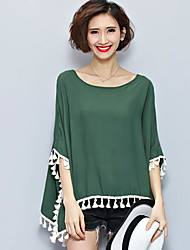 Women's Casual/Daily Boho Summer Blouse,Solid Round Neck ½ Length Sleeve Green Cotton Thin