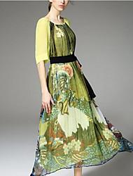 Mulheres Vestido Solto Simples Estampado Maxi Decote Redondo Seda
