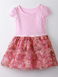 Girl's Print Dress,Cotton Summer Pink