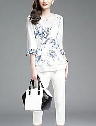 Mulheres Blusa Casual Moda de Rua Verão,Estampado Branco Poliéster Decote V Manga ¾ Fina
