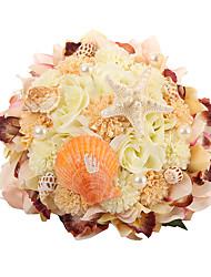 Fleurs de mariage Forme libre Roses Bouquets Mariage Soie Env.24cm