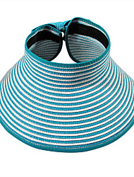 Beach Sun Hat Empty Top Portable Folding Striped Bow Hat