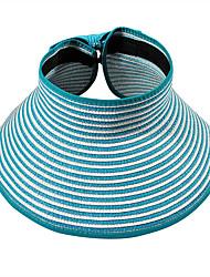 Beach Sun Hat Empty Top Portable Folding Striped Bow Hat