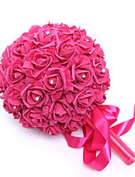 """Bouquets de Noiva Redondo Rosas Buquês Casamento Cetim Espuma Strass 9.06""""(Aprox.23cm)"""