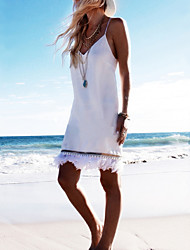 Women's Holiday Street chic Shift Dress,Solid Deep V Above Knee Sleeveless White Polyester Summer