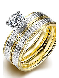 lureme® Luxurious Golden and Silver Tone Line Carved Stainless Steel Big Zircon Womens Girls Ring 2Pcs A Set