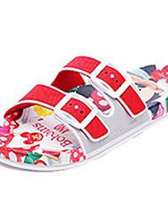 DamenLässig-PVC-Flacher Absatz-Pantoffeln-Rot