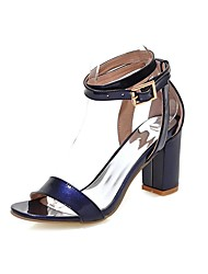 Summer PU Office & Career Casual Chunky Heel Split Joint Black Blue Red White