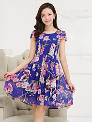 Women's Street chic Floral Plus Size / Chiffon Dress,U Neck Knee-length Polyester