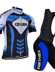 KEIYUEM Cycling Jersey with Bib Shorts Unisex Short Sleeve BikeBreathable Quick Dry Dust Proof Wearable Compression Back Pocket Stretch