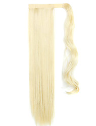 золотой 60см синтетическая высокая температура проволоки парик прямые волосы конский хвост цвет 60/86