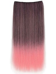 24 Inch Long Straight Synthetic Clip In Hair Extensions with 5 Clips - 8 Colors Available