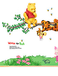 Winnie The Pooh Cartoon Kindergarten Wall Stickers Removable PVC Kids Room Wall Decals