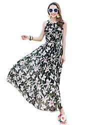 2016 Summer Women Bohemian Beach Flower Print Chiffon Dress