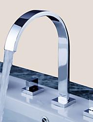 Zeitgenössisch 3-Loch-Armatur Zwei Griffe Drei Löcher in Chrom Waschbecken Wasserhahn