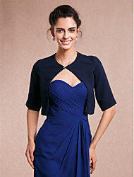 Women's Wrap Shrugs Half-Sleeve Chiffon Dark Navy Wedding Party/Evening
