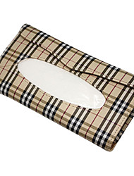 Auto Accessories Beige Grid Tissue Pumping Car Storage Bag