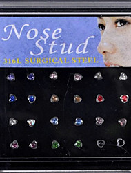 24PCS Heart Shape  316L Stainless Steel Nose Rings & Studs Nose Ear Piercing Ring Body Jewelry (1 Box)