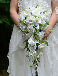 YuXiYing  Elegant Cascade  Shape Little Rose Orchid Bridal Wedding Bouquet