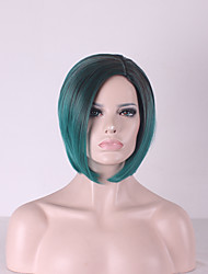 Best-selling Europe And The United States BOBO Head Wig Black Gradient Green