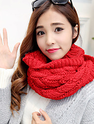 Women Cute High-end Couple Pure Color Thick Line Twist Warm Knitted Scarf